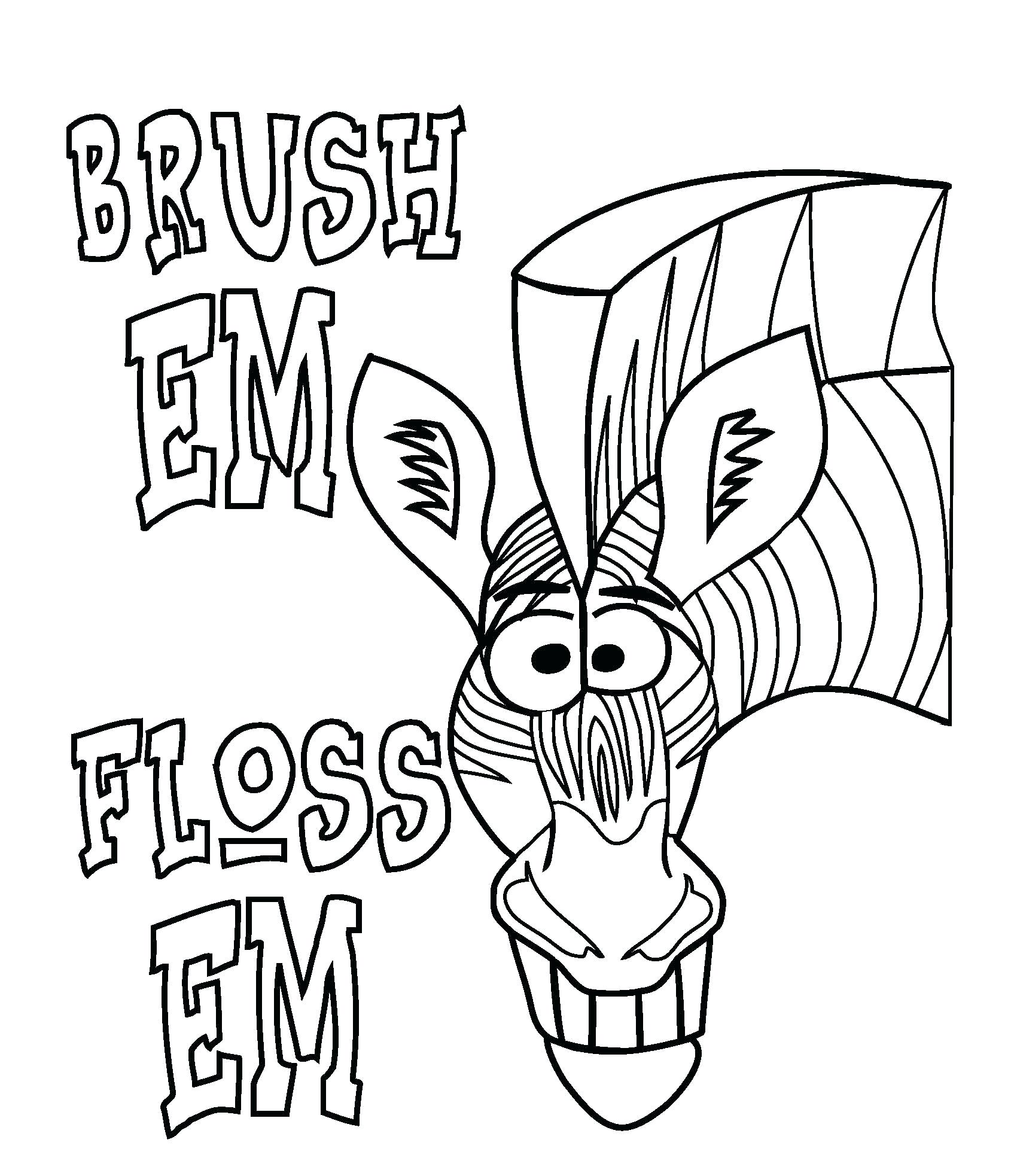 1700x1966 Coloring Page Cartoon Teeth Toothbrush Dental Floss Brush Your