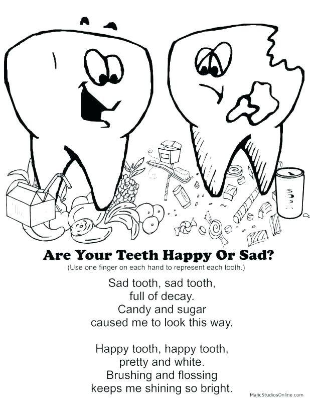 618x800 Tooth Color Page Teeth Brushing Coloring Pages Happy Tooth Brush