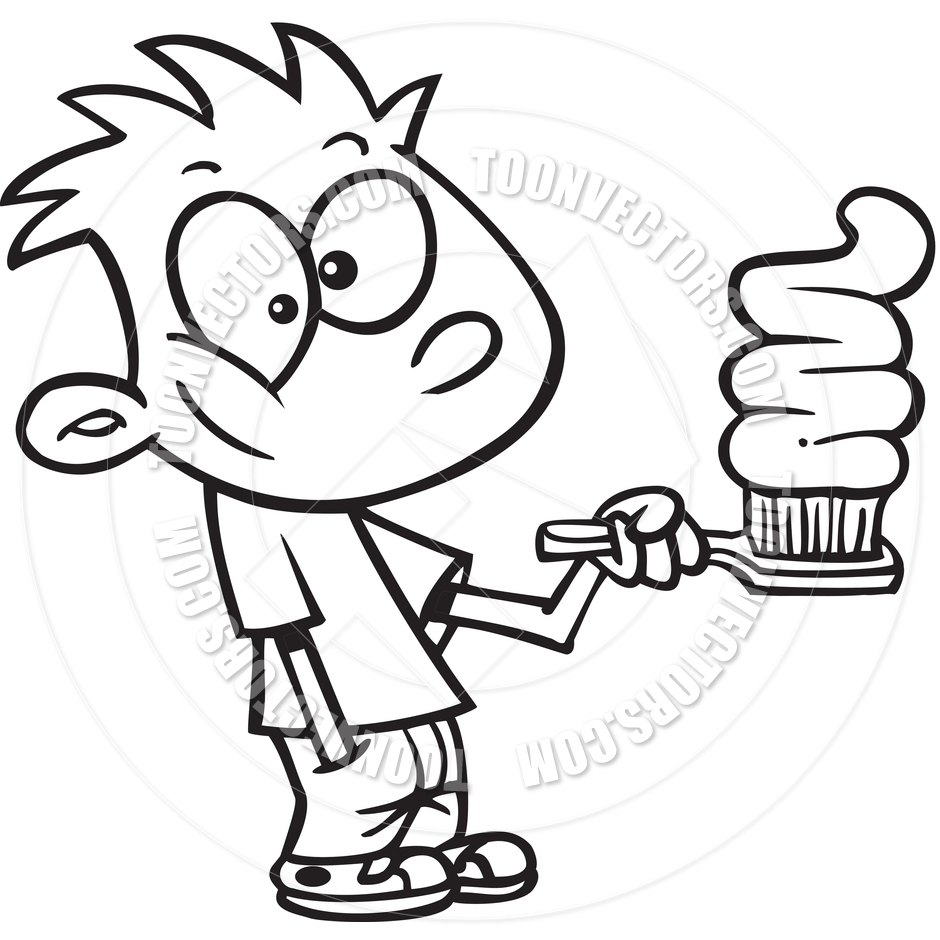 940x940 Boy Brushing Teeth Clipart Black And White