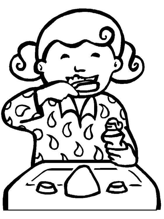 563x751 Little Girl Brushing Her Teeth Printable Health