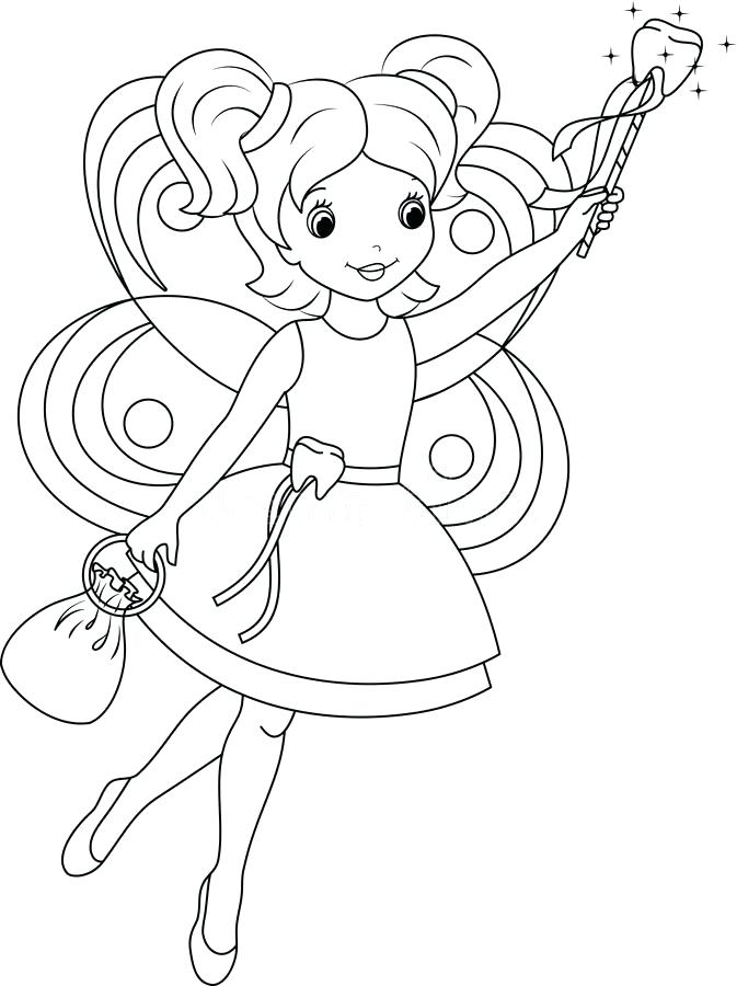 673x900 Teeth Coloring Pages Tooth Fairy Coloring Page Stock Vector Image