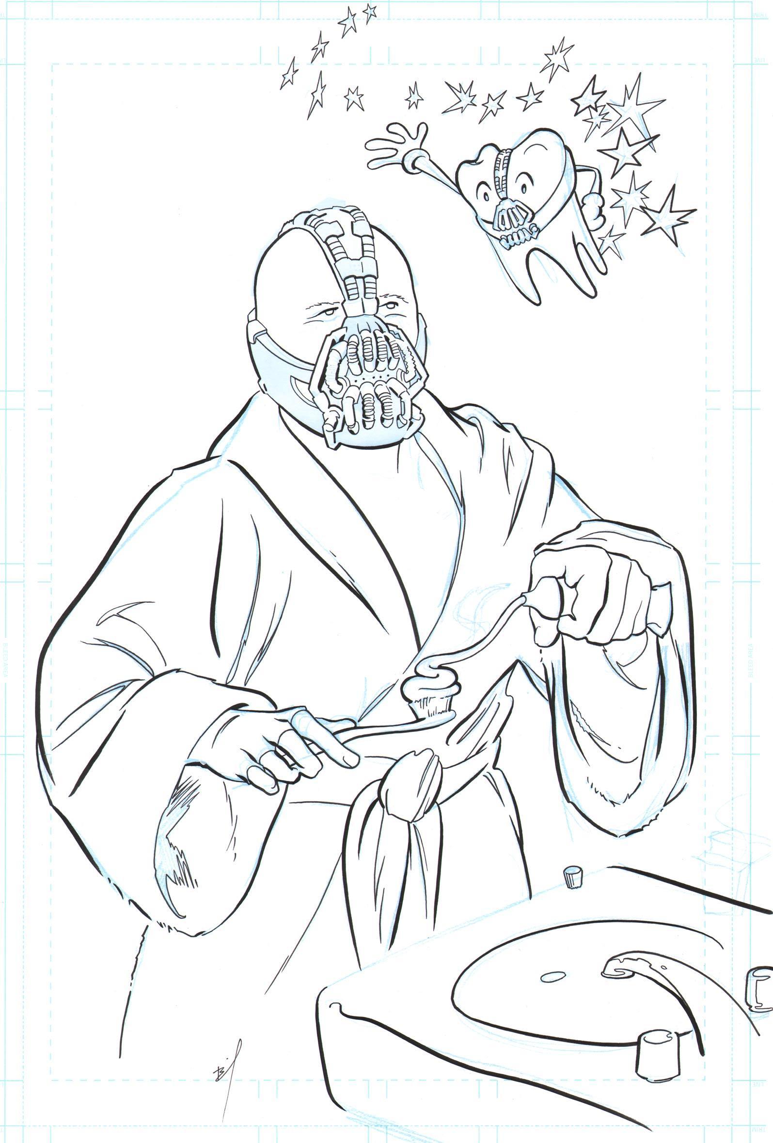 1595x2357 Bane Brushing His Teeth Original Ink Drawing Brandon Bird