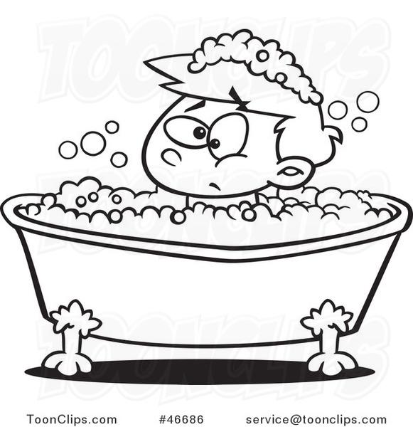 581x600 Cartoon Black And White Grumpy Boy In A Bubble Bath