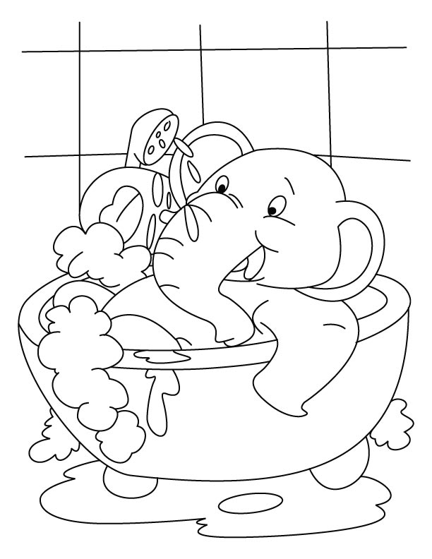 612x792 Elephant In Bubble Bath Coloring Page To Print