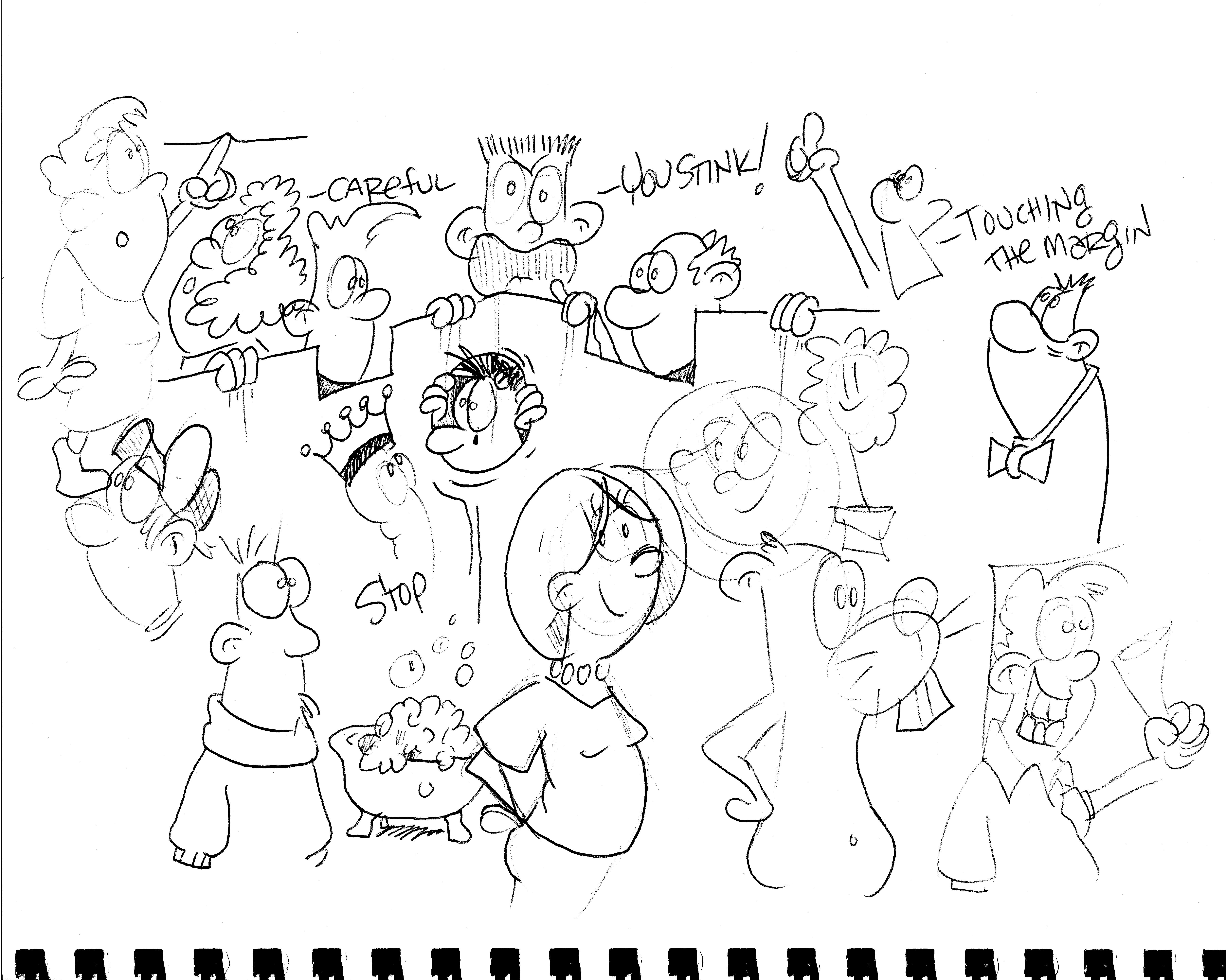 6198x4956 Fence, Neighbors, Bubble Bath, Boon, Cartoons, Cartoonist For Hire