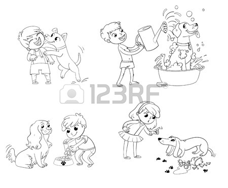 450x371 Happy Boy With A Dog Licking Her Face. Labrador Taking A Bubble
