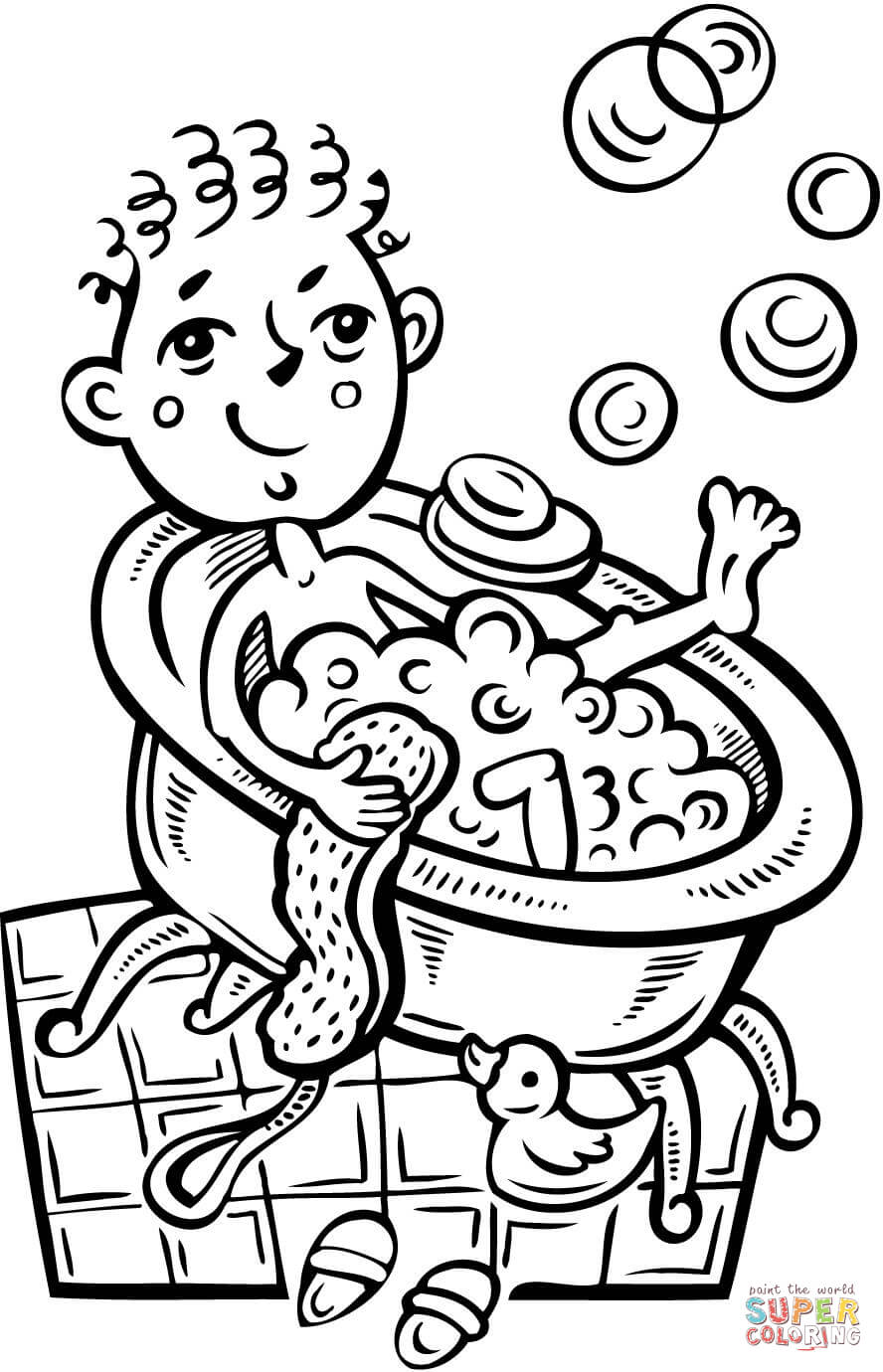 888x1380 Boy Taking A Bubble Bath Coloring Page Free Printable Coloring Pages