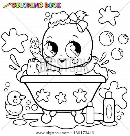 449x470 Vector Illustration Cute Baby Girl Vector Amp Photo Bigstock