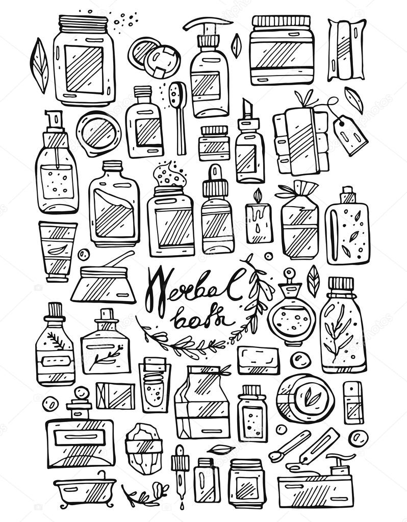 798x1023 Vector Hand Draw Line Icons Set Of Luxury Bubble Bath Stock