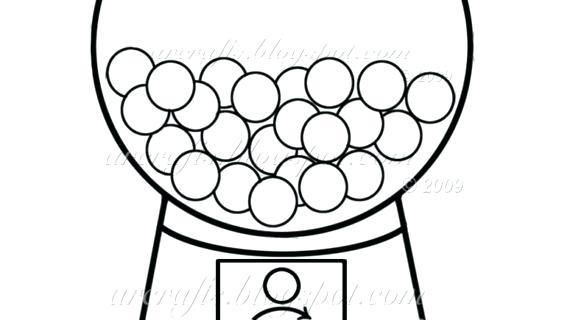 570x320 Amazing Bubble Gum Machine Coloring Page Print Drawing Cute Clip