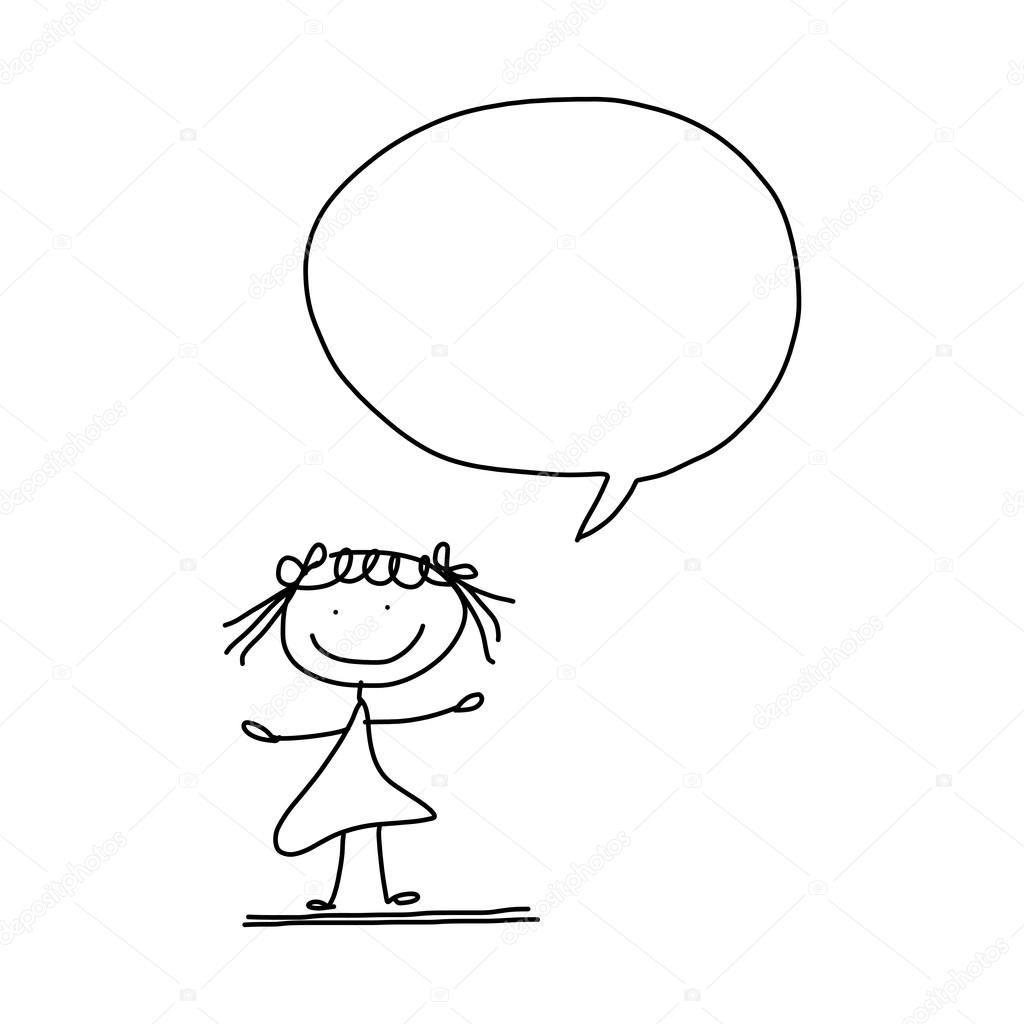 1024x1024 Hand Drawing Cartoon Of A Small Girl With Speech Bubble Stock