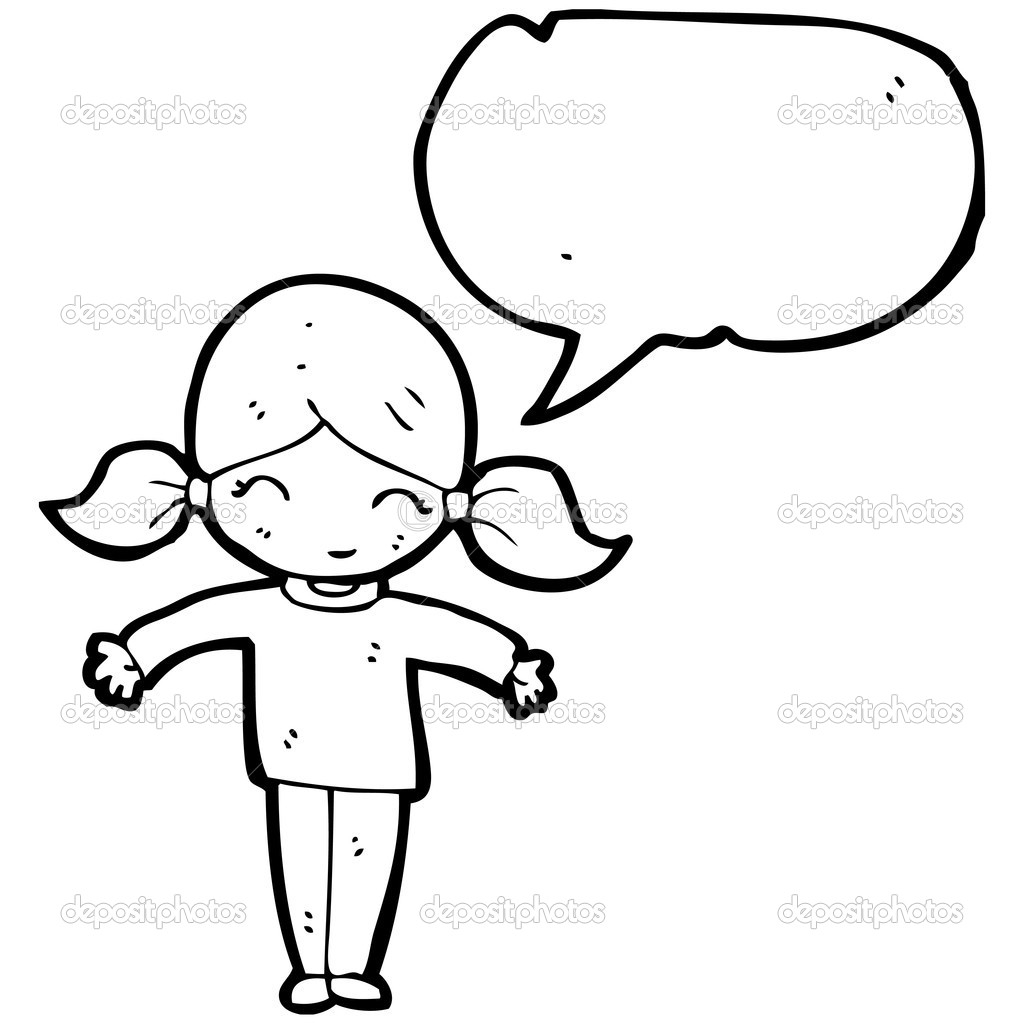 1024x1024 Cartoon Drawing Little Girl Little Girl With Speech Bubble Stock