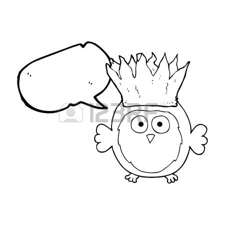 450x450 Freehand Drawn Speech Bubble Cartoon Owl Wearing Paper Crown