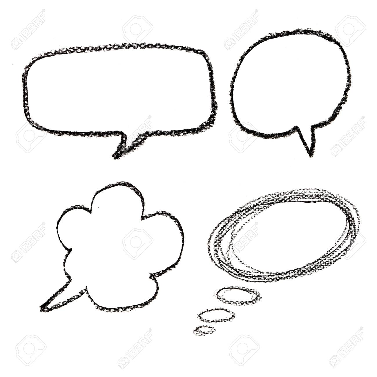 1300x1300 Hand Drawn Speech Bubbles On Watercolor Paper Isolated On White