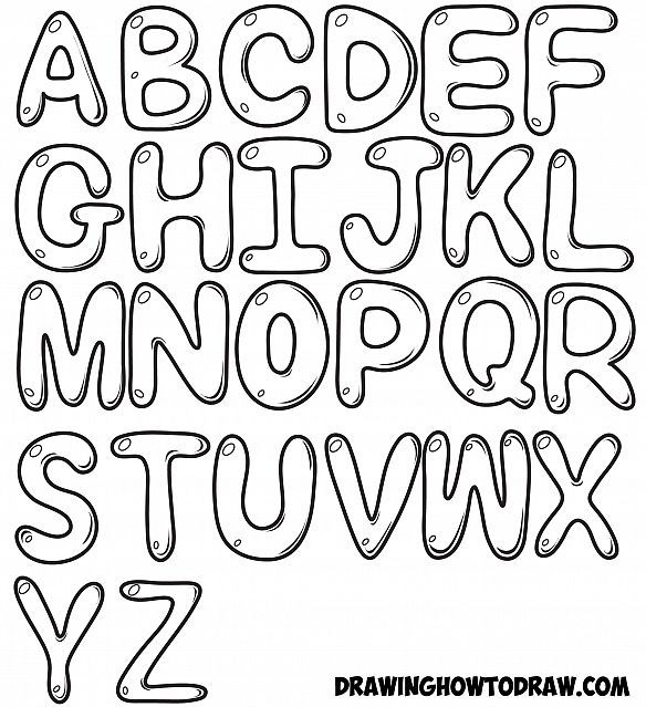 584x639 How To Draw Bubble Letters In Simple Steps Step By Step Drawing