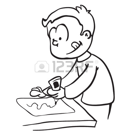 450x450 Little Boy With Thought Bubble Gluing Paper Cartoon Royalty Free