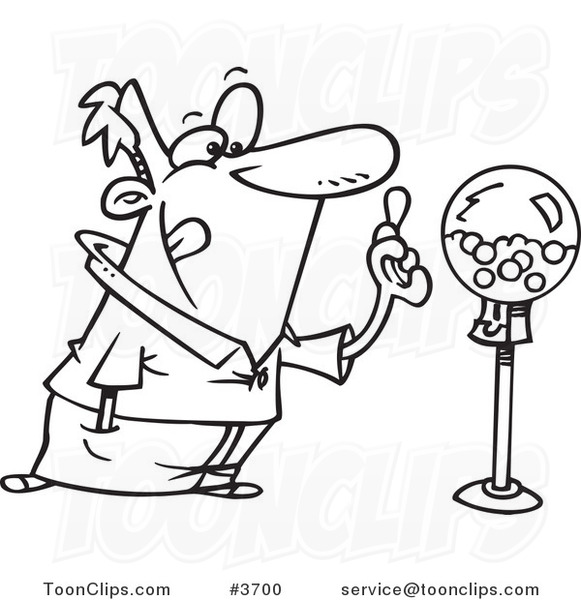 581x600 Cartoon Blacknd White Line Drawing Of Guy Holding Gum By