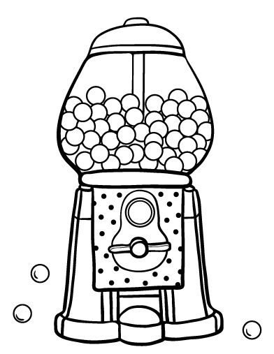 392x507 Gumball Machine Coloring Pages Preschoolers Gumball Machine