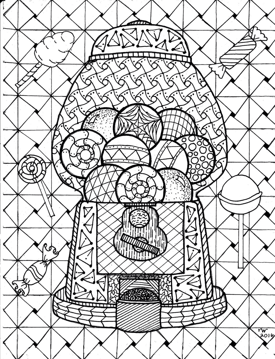 1148x1500 Gumball Machine Zentangle Coloring Page By Inspirationbyvicki