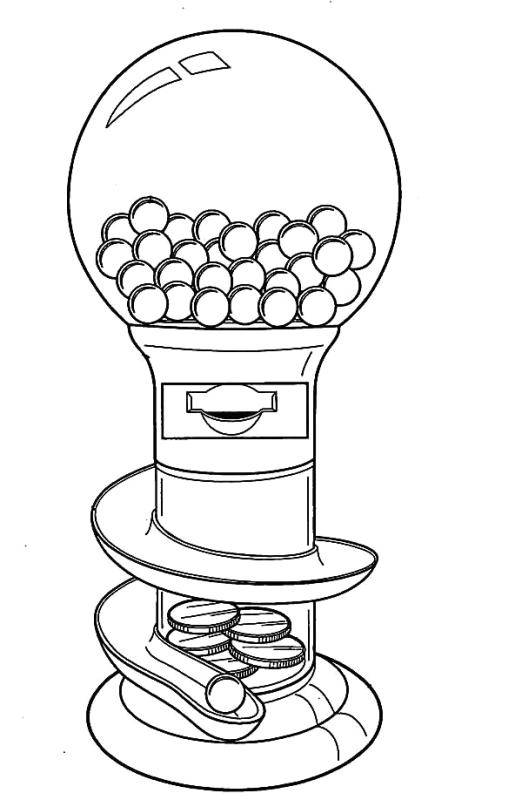 empty gumball machine coloring pages | Bubble Gum Machine Drawing at GetDrawings.com | Free for ...