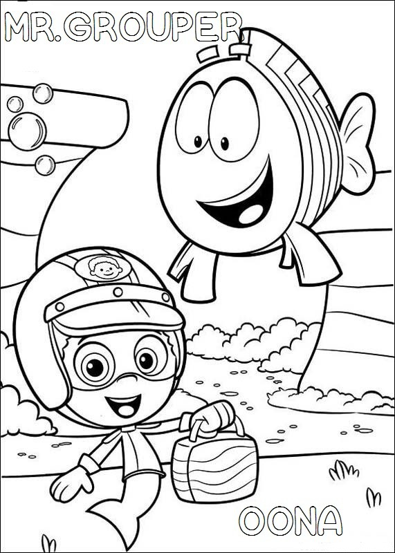 571x800 Bubble Guppies Mr Grouper And Oona Coloring Pages