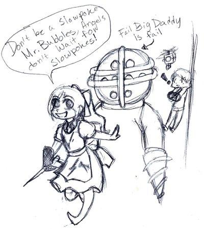 400x450 Bioshock Sketch Don'T Be A Slowpoke Mr. Bubbles By Bluerosefox
