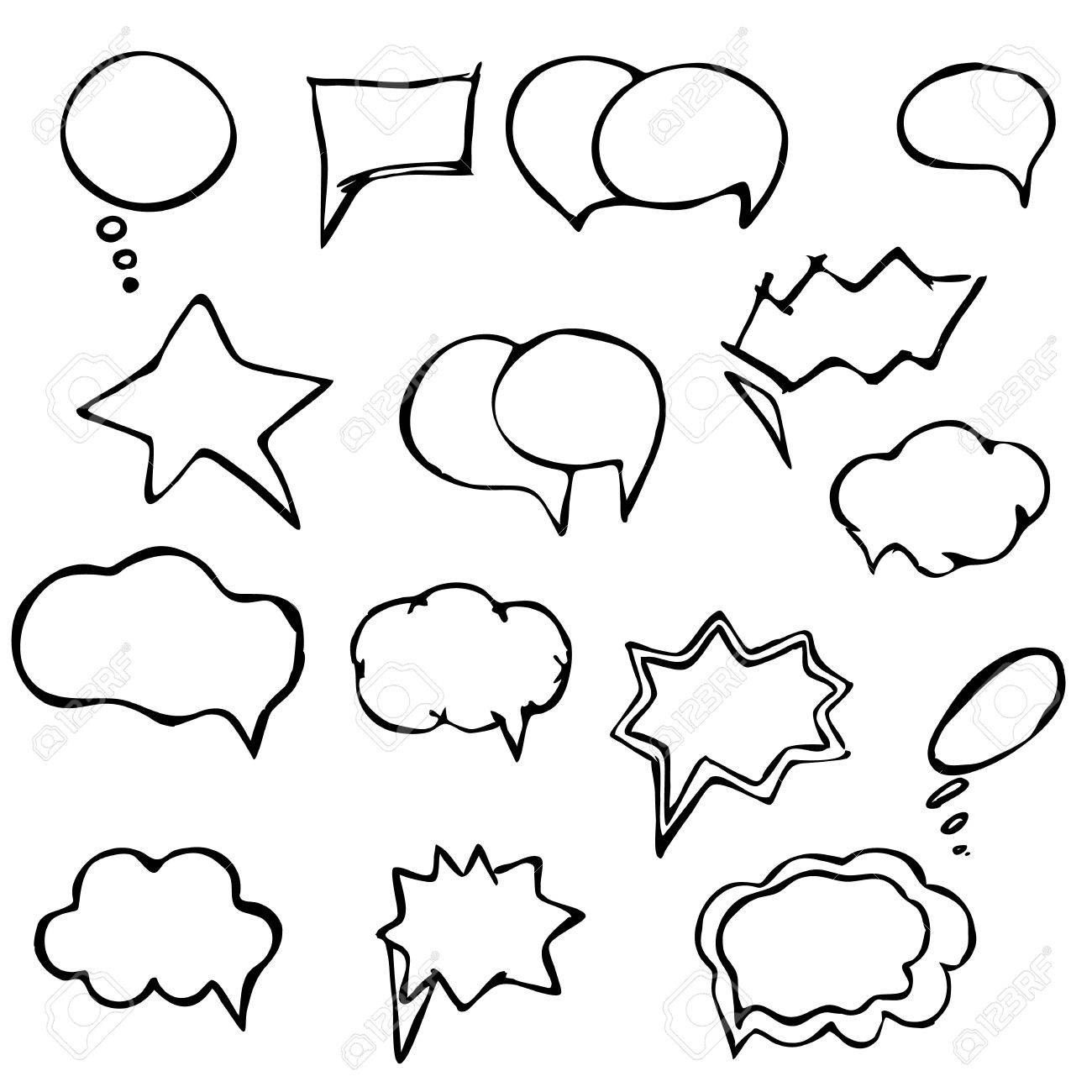 1300x1300 Collection Of Hand Drawn Speech Balloons (Bubbles) Royalty Free