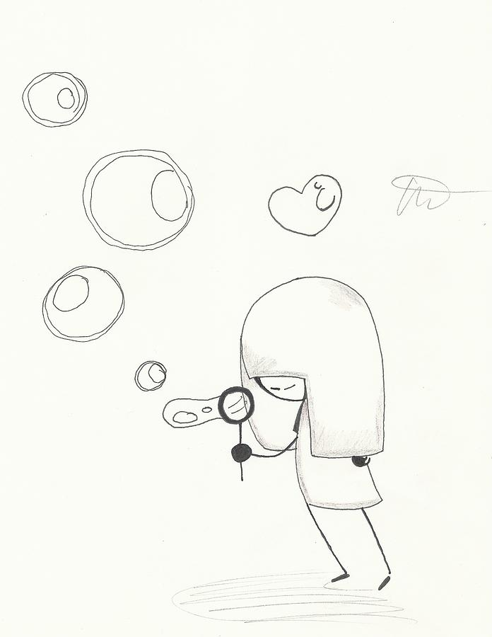 696x900 Blowing Bubbles Drawing By Michelle Cruz