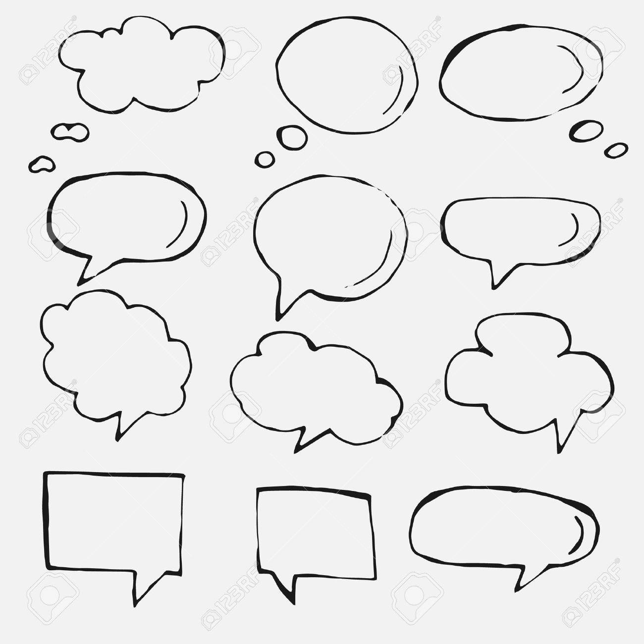 1300x1300 Hand Drawn Thought And Speech Bubbles And Balloons. Royalty Free