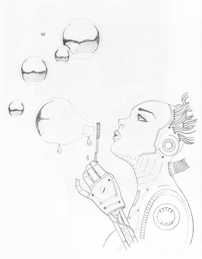 703x900 Robot Bubbles Drawing By David Seter