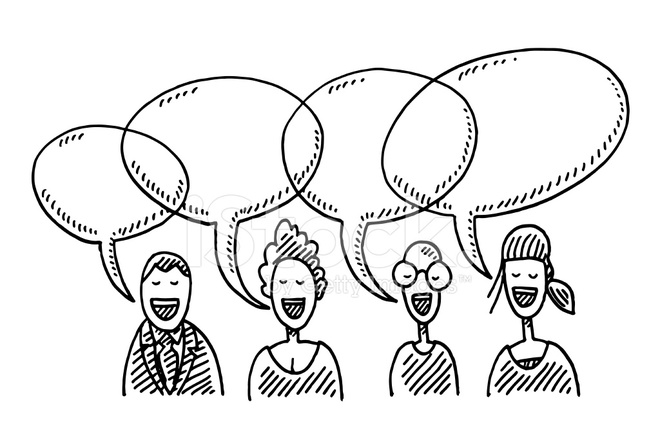 660x440 Team People Speech Bubbles Drawing Stock Vector