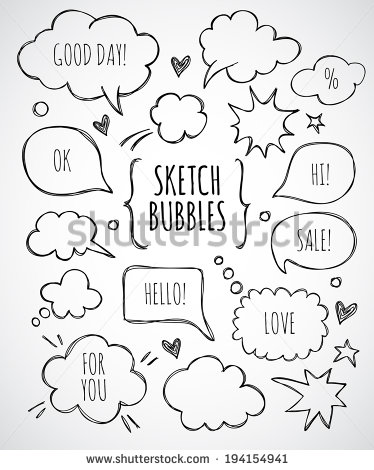 374x470 Vector Hand Drawn Set Of Sketch Speech Bubbles Clouds Rounds