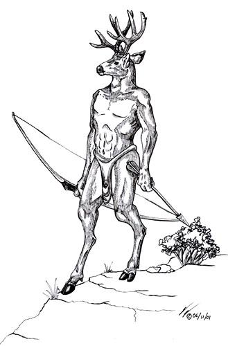 329x500 Deer Buck Drawings Siris Anthro Mule Deer Buck By Steeljaw
