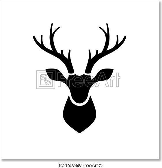 561x581 Free Art Print Of Deer Head Icon Vector Logo. Deer Head Icon