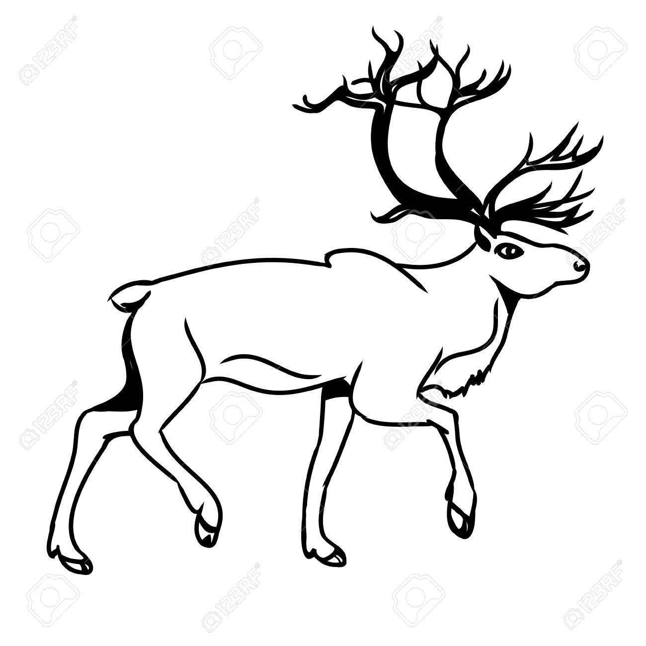 1300x1300 Graphic Image Of Deer. Black Outline Of A Reindeer On A White