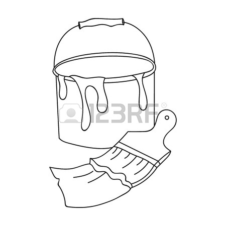 450x450 Bucket Of Paint And Paintbrush Icon In Cartoon Style Isolated