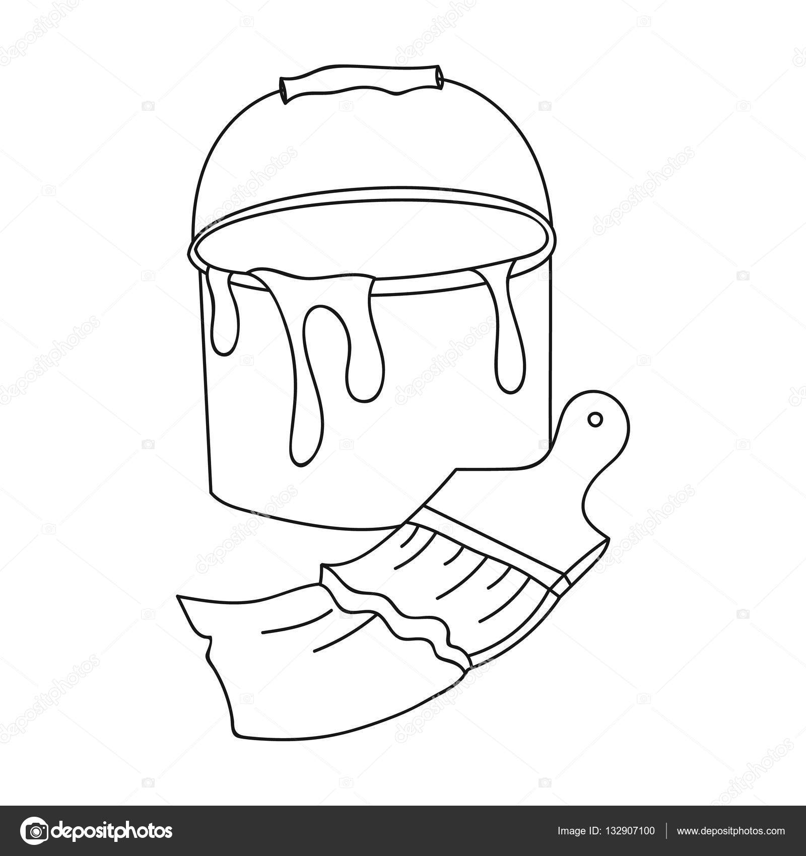 1600x1700 Bucket Of Paint And Paintbrush Icon In Outline Style Isolated