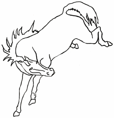400x414 Bucking Horse Lineart By Equinelineart