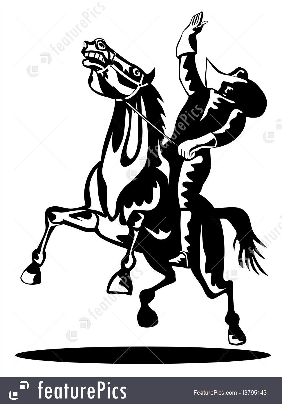 972x1392 Illustration Of Rodeo Cowboy Riding Bucking Bronco Horse