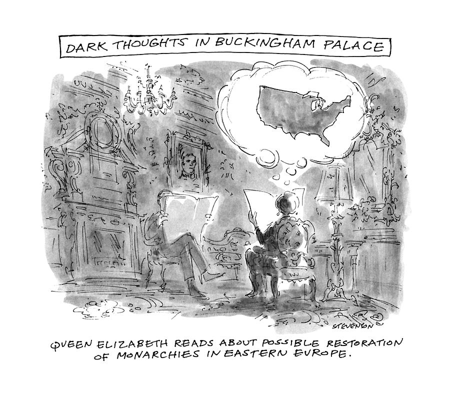 900x786 Dark Thoughts In Buckingham Palace Drawing By James Stevenson