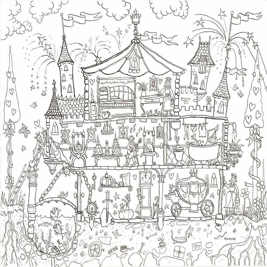 900x900 Princess Palace Colouring In Poster Coloring Books And Craft