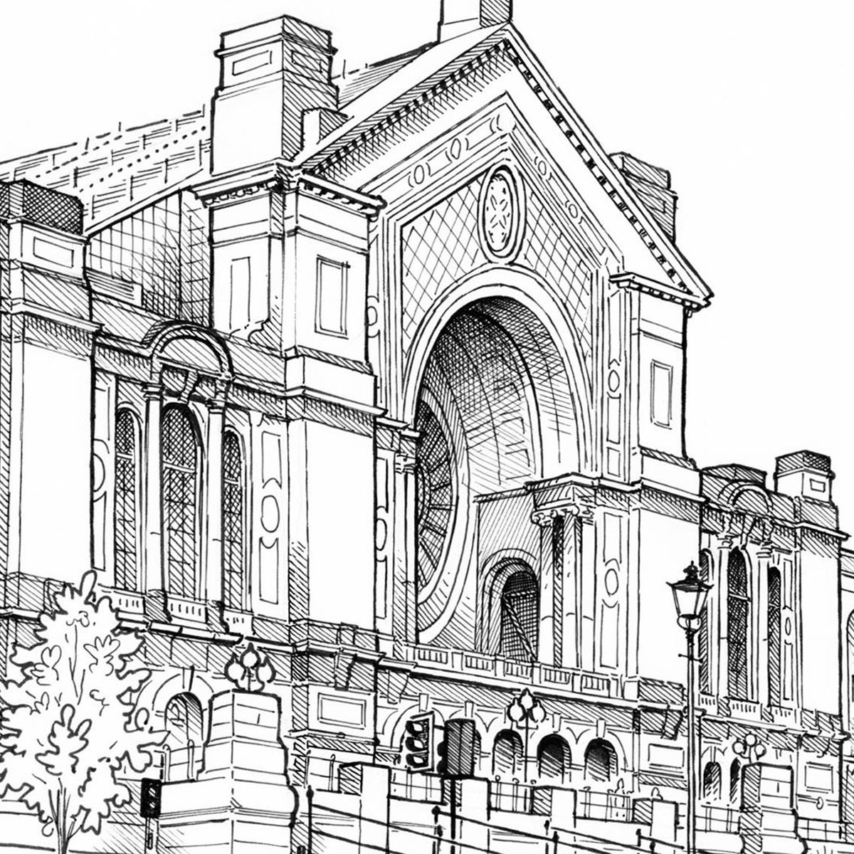 1200x1200 Trouva Mike Hall Alexandra Palace Line Drawing Print