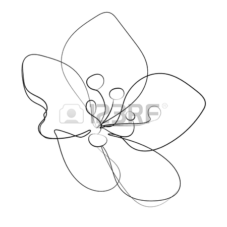 450x450 Stylized Sakura Flower Icon. Flower Bud Of Cherry. Linear Art