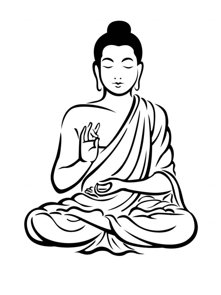 768x1024 Buddha Sketch Drawing