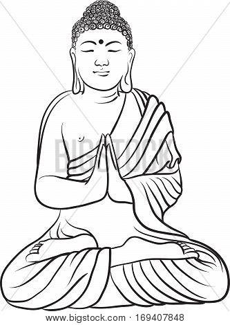 333x470 Drawing Buddha Statue. Art Vector Vector Amp Photo Bigstock