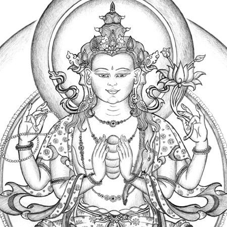 450x450 Avalokiteshvara Thangka Drawing Chenrezig Thangka Drawing