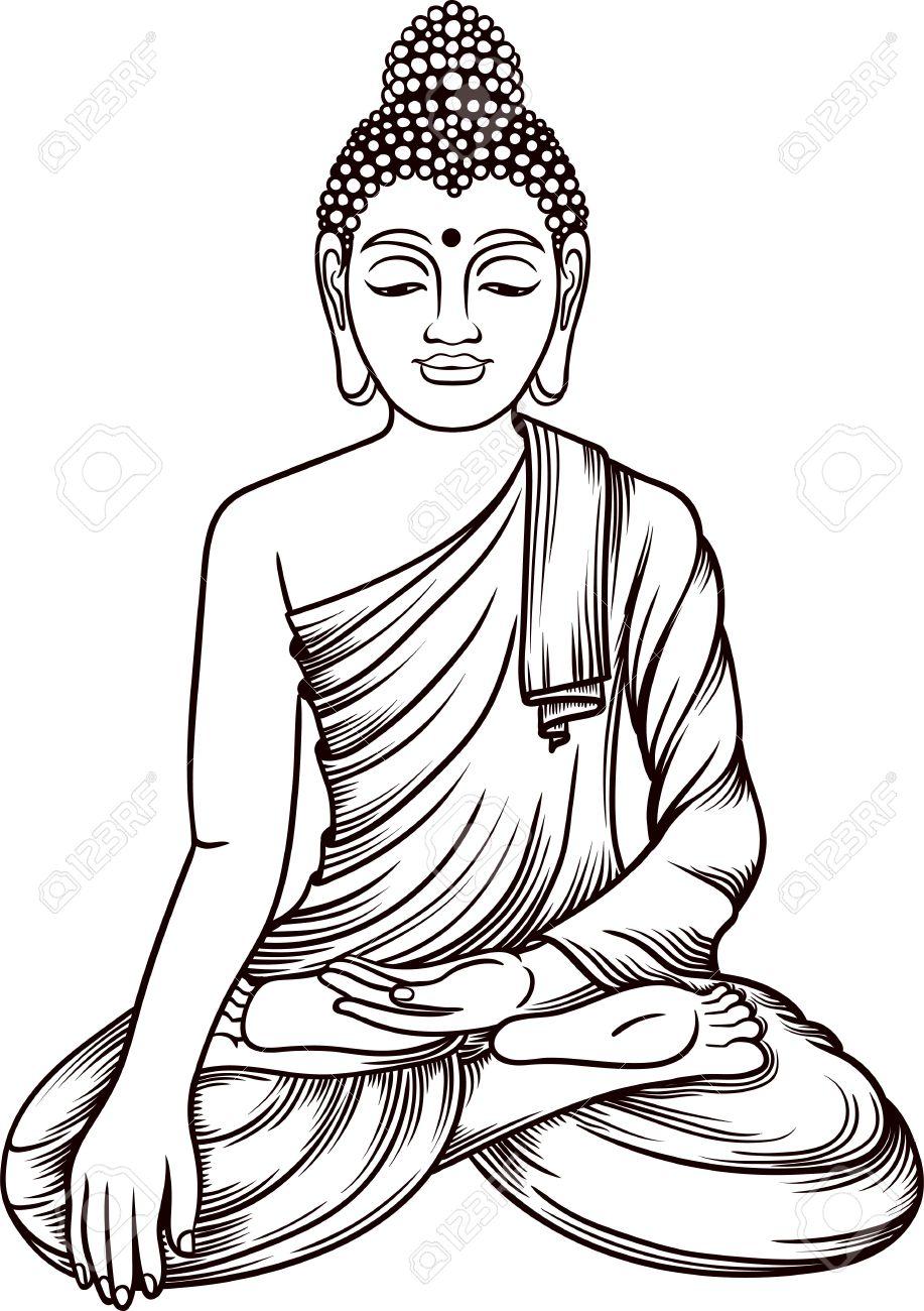 917x1300 Buddha Gautama Vector Illustration. Vintage Decorative Zentangle