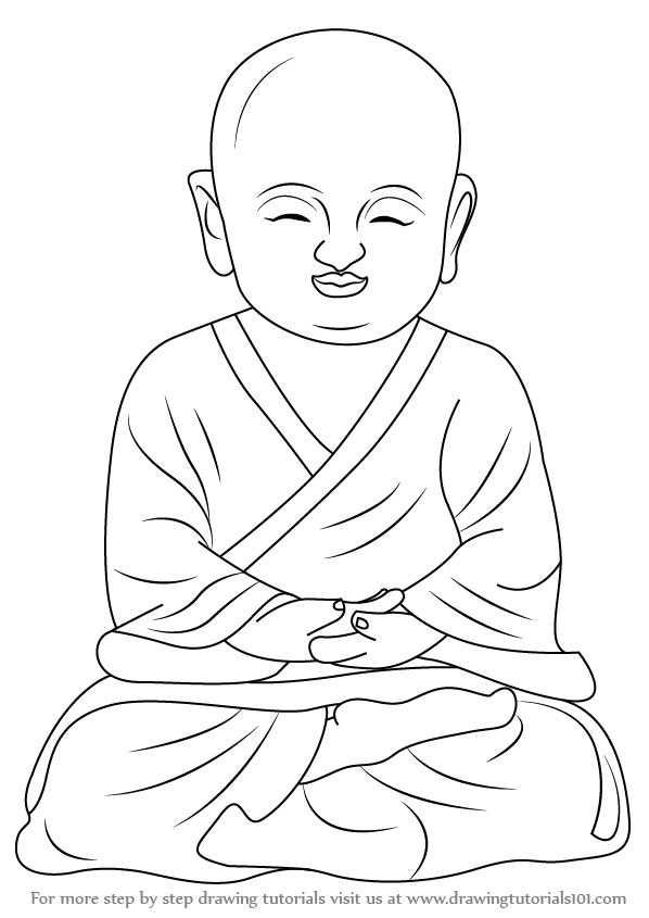 598x845 Learn How To Draw A Child Buddha (Buddhism) Step By Step Drawing