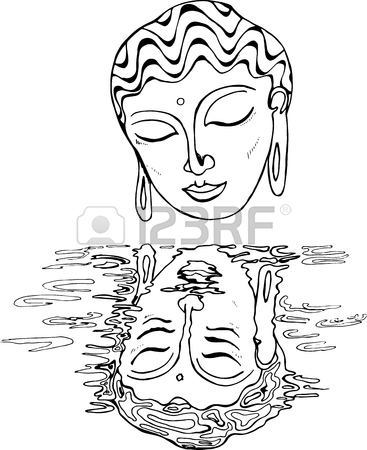 367x450 An Illustration Of A Buddha And His Reflection. Black And White