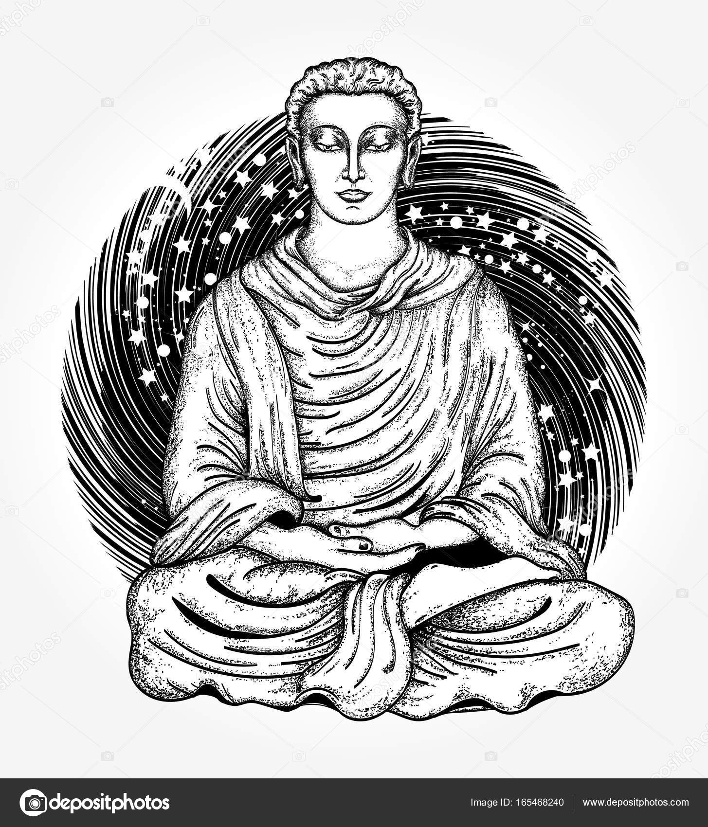 1455x1700 Buddha Tattoo And T Shirt Design. Space Buddha Tattoo Art Stock